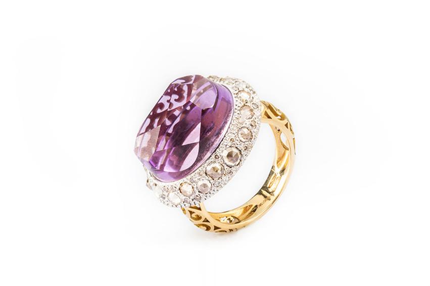 pomellato - Anello pomellato in oro rosa con ametista e diamanti brown