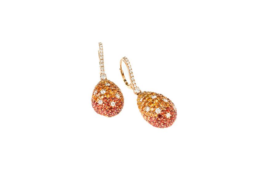 rabino - Orecchini rabino in oro rosa diamanti e zaffiri gialli e arancioni